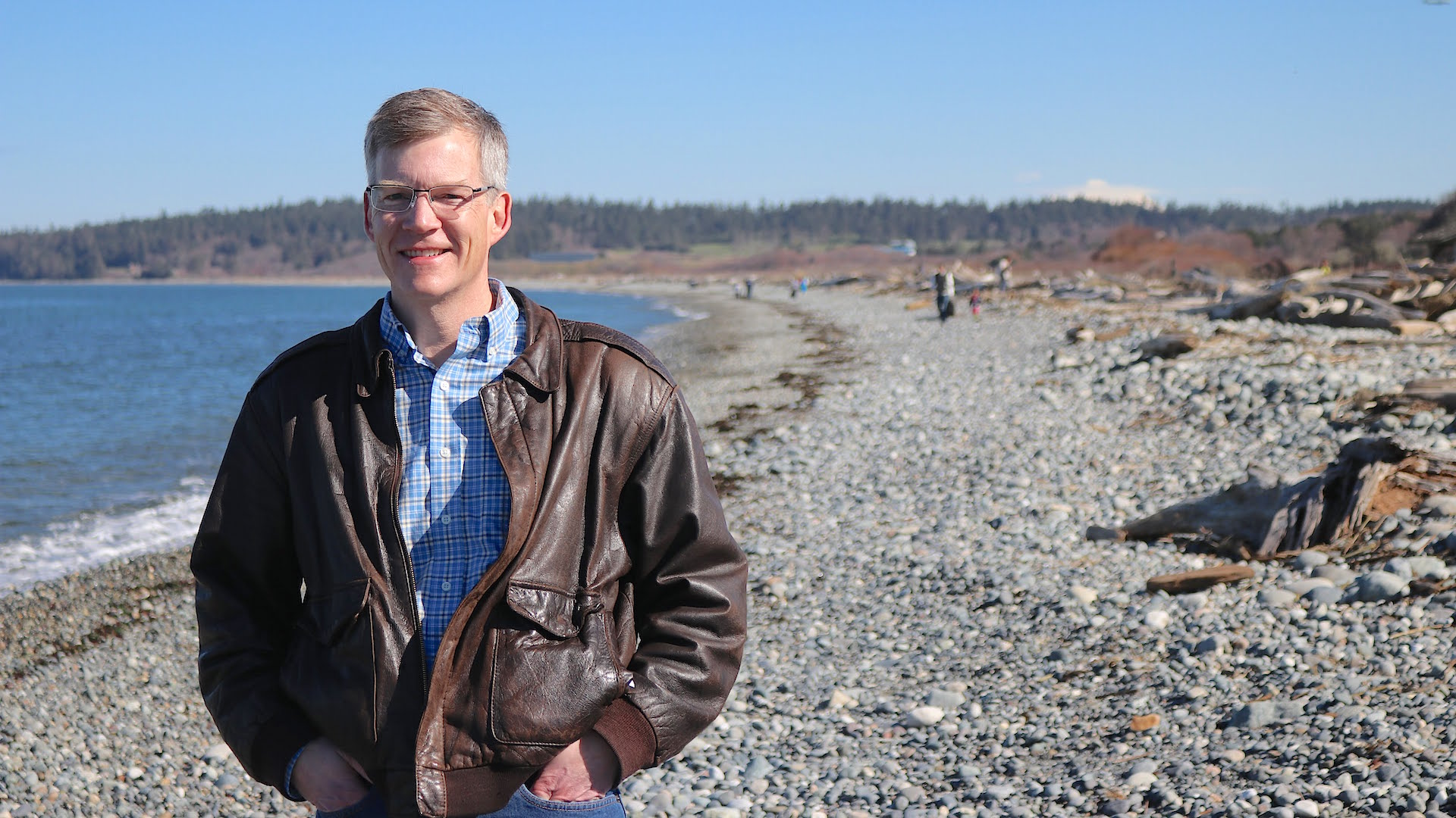 Dave Paul posing on a North Whidbey beach